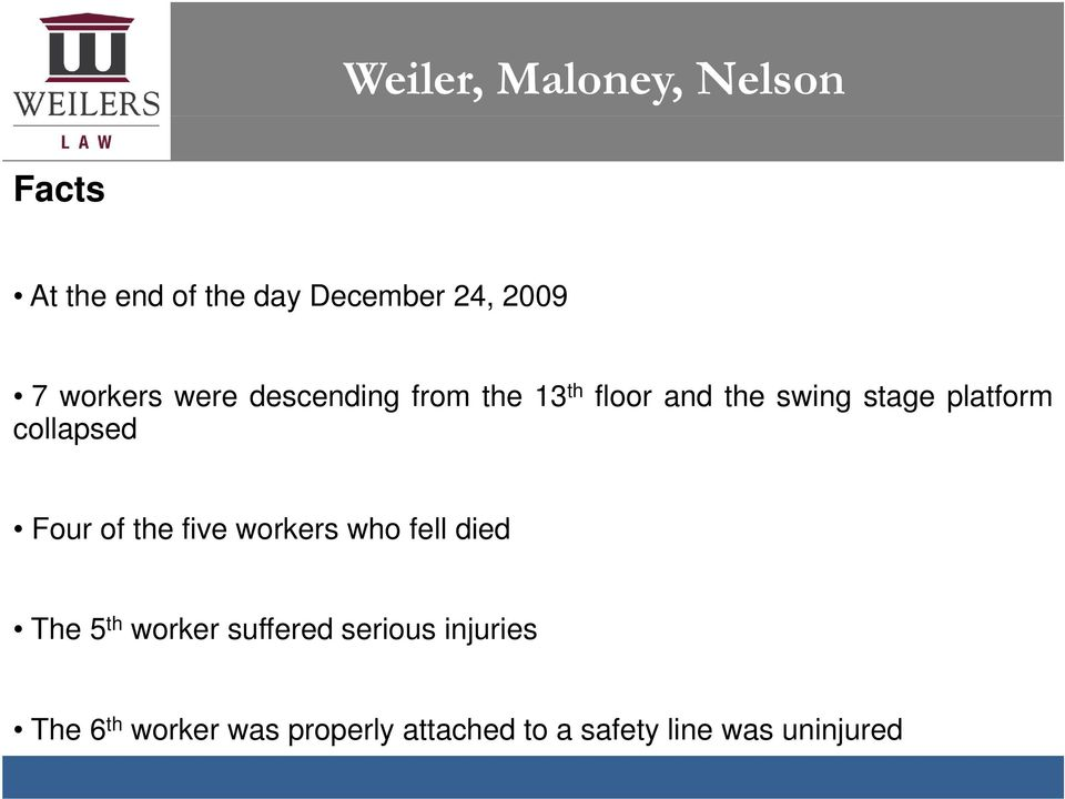collapsed Four of the five workers who fell died The5 th worker