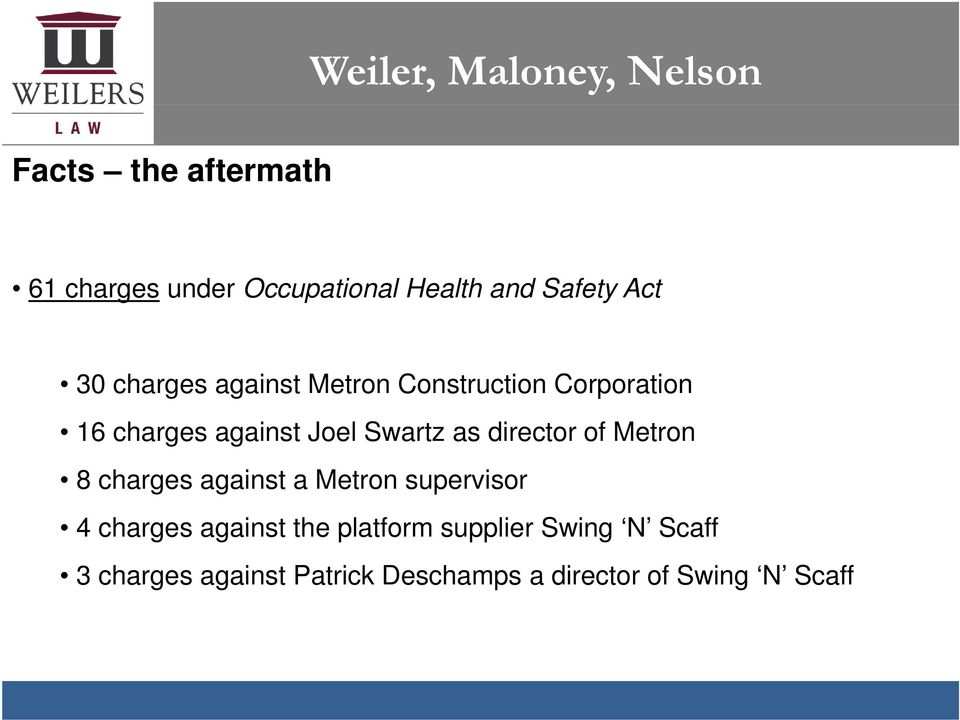 of Metron 8 charges against a Metron supervisor 4 charges against the platform