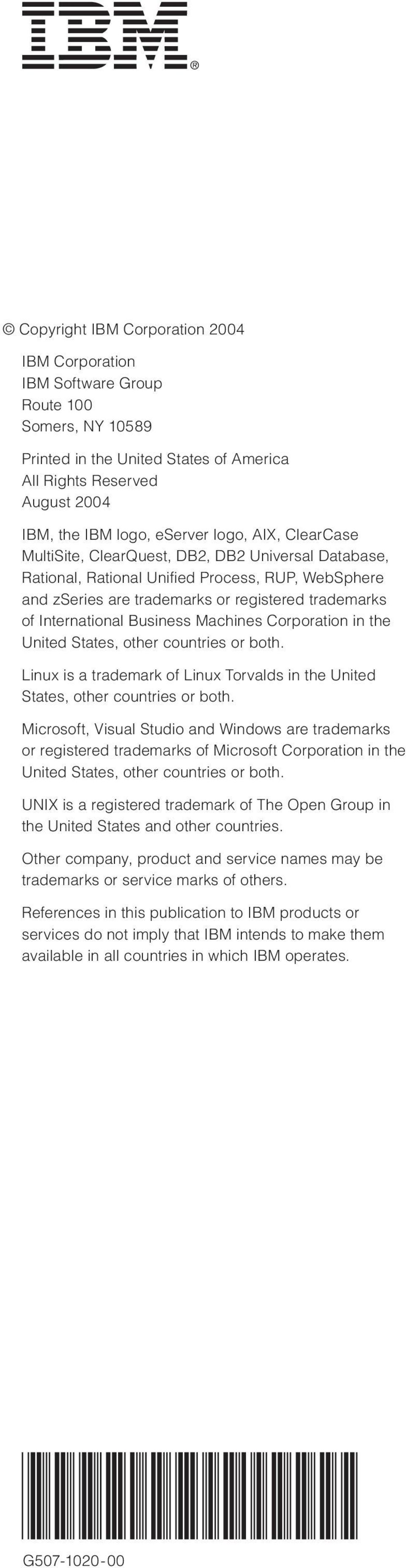 Machines Corporation in the United States, other countries or both. Linux is a trademark of Linux Torvalds in the United States, other countries or both.