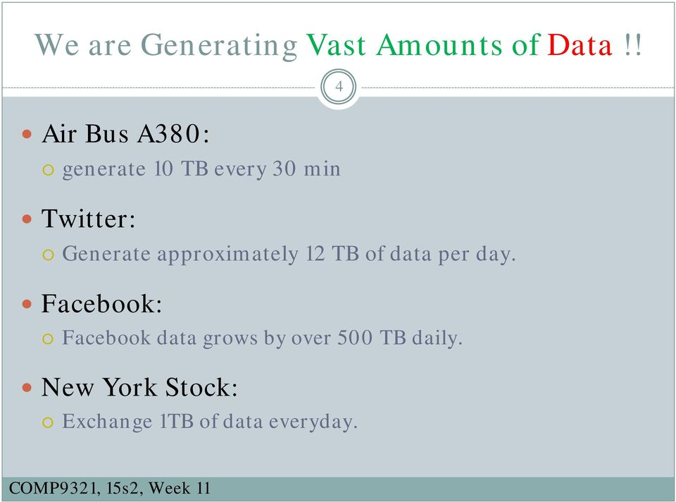 Generate approximately 12 TB of data per day.