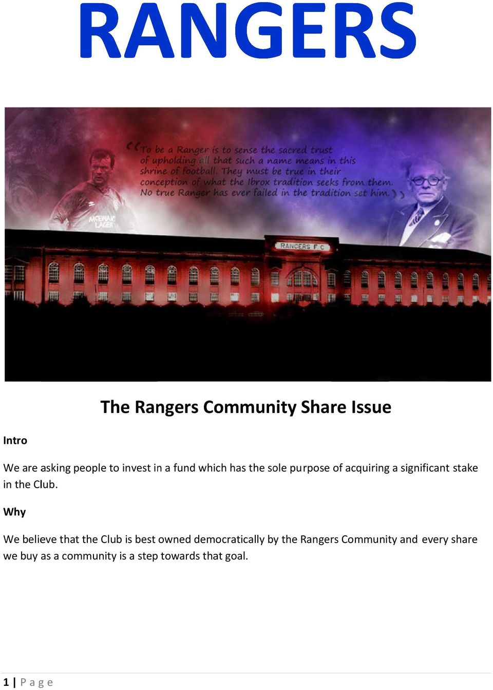 Why We believe that the Club is best owned democratically by the Rangers