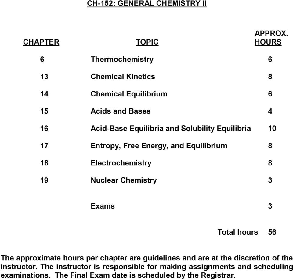 Equilibria and Solubility Equilibria 10 17 Entropy, Free Energy, and Equilibrium 8 18 Electrochemistry 8 19 Nuclear Chemistry