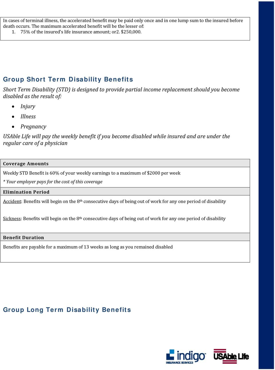 Group Short Term Disability Benefits Short Term Disability (STD) is designed to provide partial income replacement should you become disabled as the result of: Injury Illness Pregnancy USAble Life