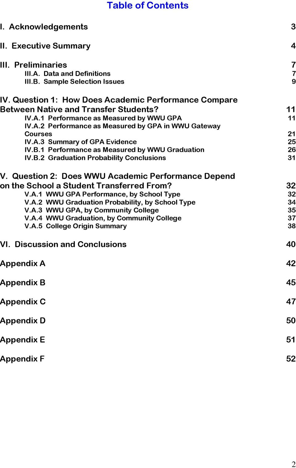 B.1 Performance as Measured by WWU Graduation IV.B.2 Graduation Probability Conclusions V. Question 2: Does WWU Academic Performance Depend on the School a Student Transferred From? V.A.1 WWU GPA Performance, by School Type V.