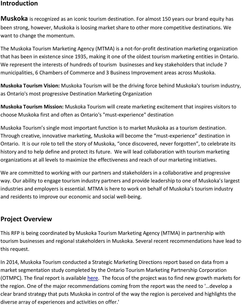 MUSKOKA TOURISM REQUEST FOR PROPOSAL - PDF