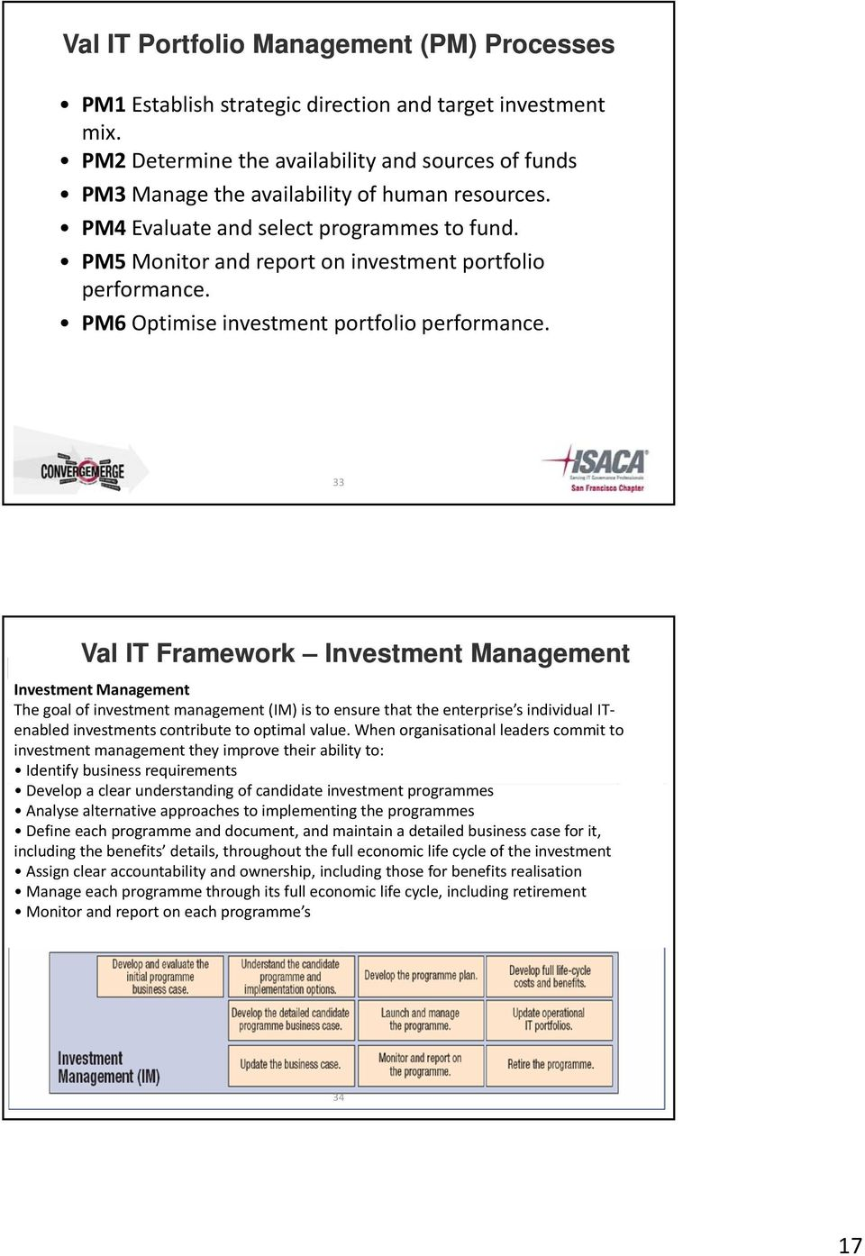 PM5 Monitor and report on investment portfolio performance. PM6 Optimise investment portfolio performance.