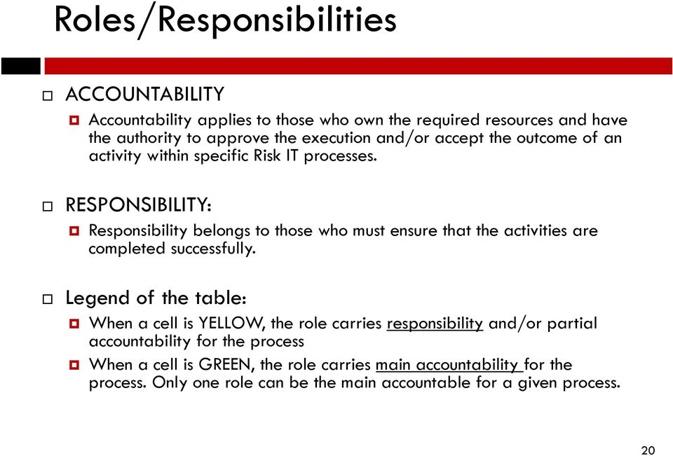 RESPONSIBILITY: Responsibility belongs to those who must ensure that the activities are completed successfully.