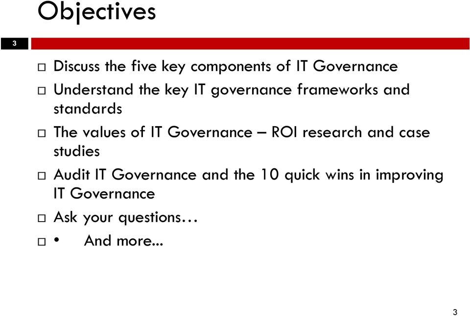 of IT Governance ROI research and case studies Audit IT Governance