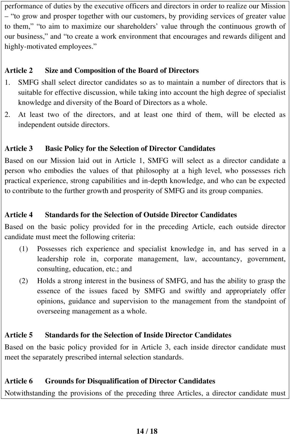 Article 2 Size and Composition of the Board of Directors 1.