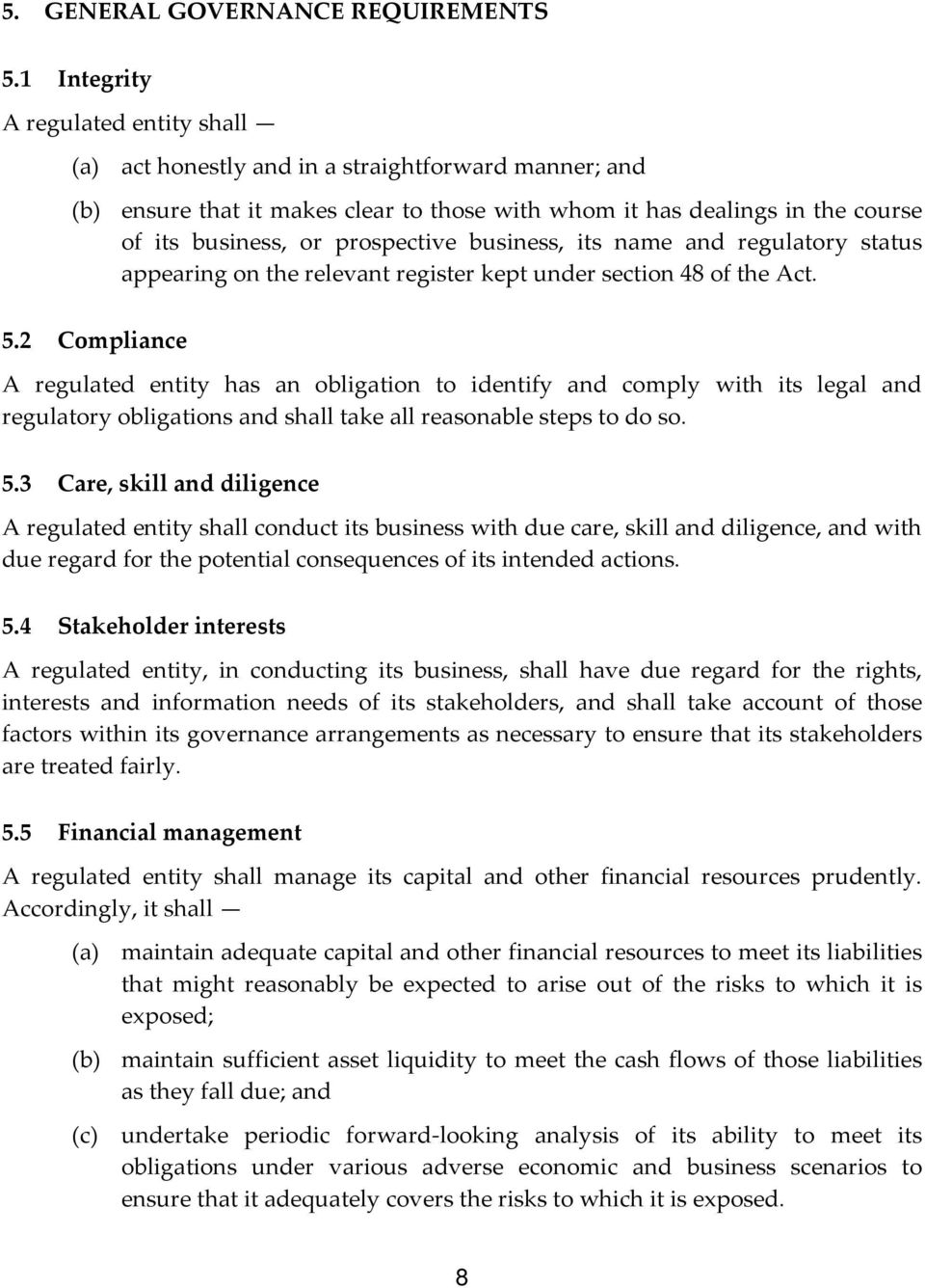 prospective business, its name and regulatory status appearing on the relevant register kept under section 48 of the Act. 5.