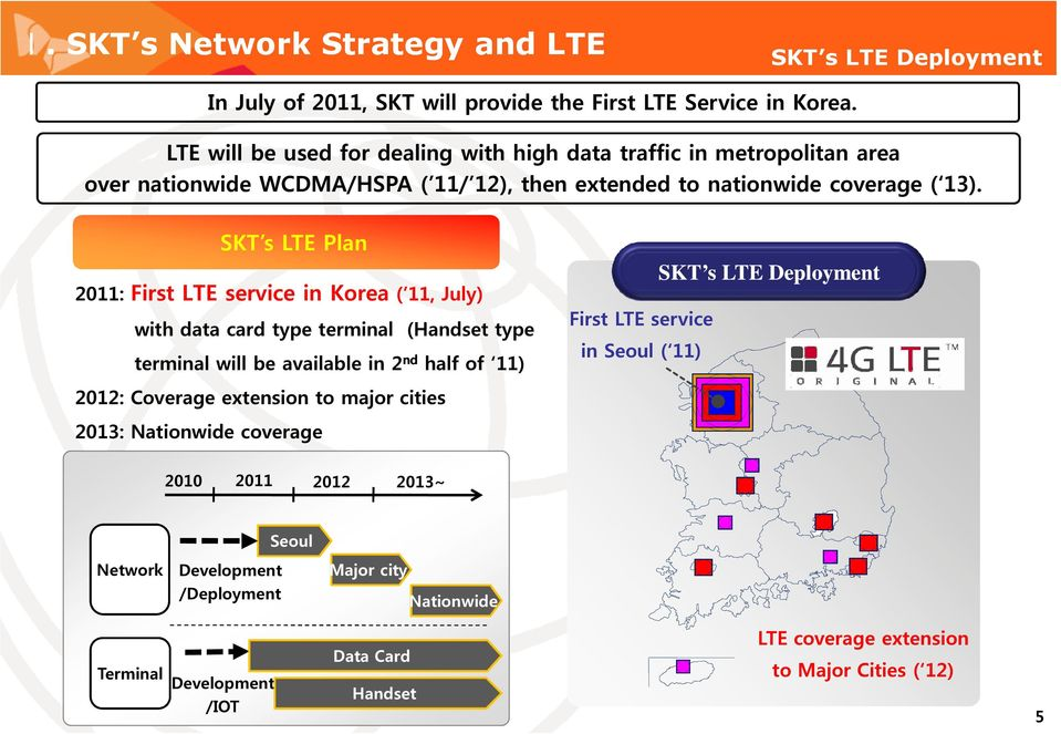 SKT s LTE Plan 2011: First LTE service in Korea ( 11, July) with data card type terminal (Handset type terminal will be available in 2ndhalf of 11) First LTE service in Seoul (