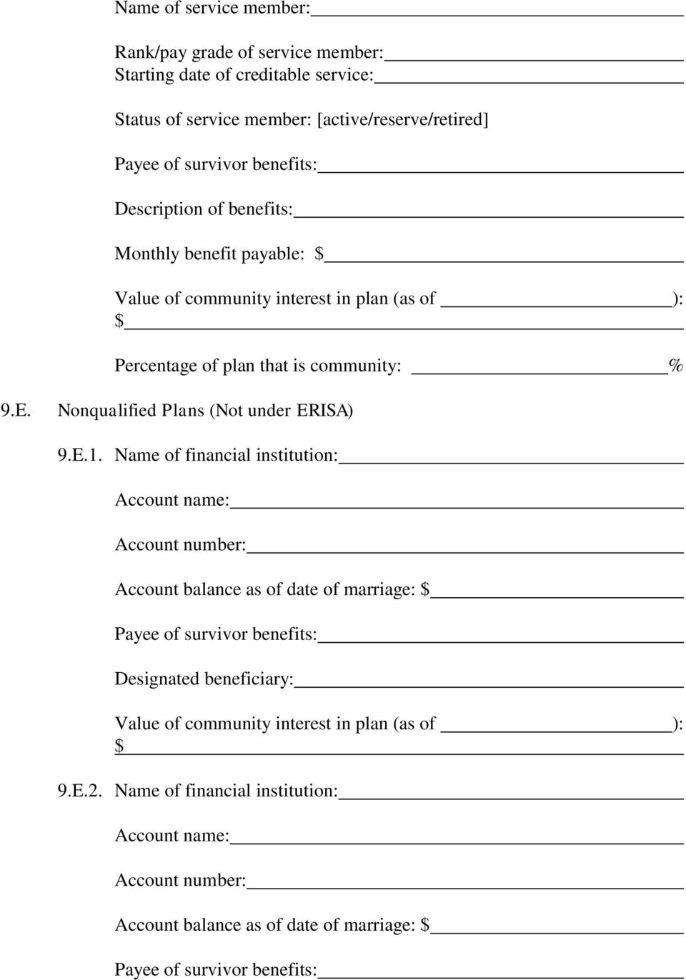 Nonqualified Plans (Not under ERISA) 9.E.1.