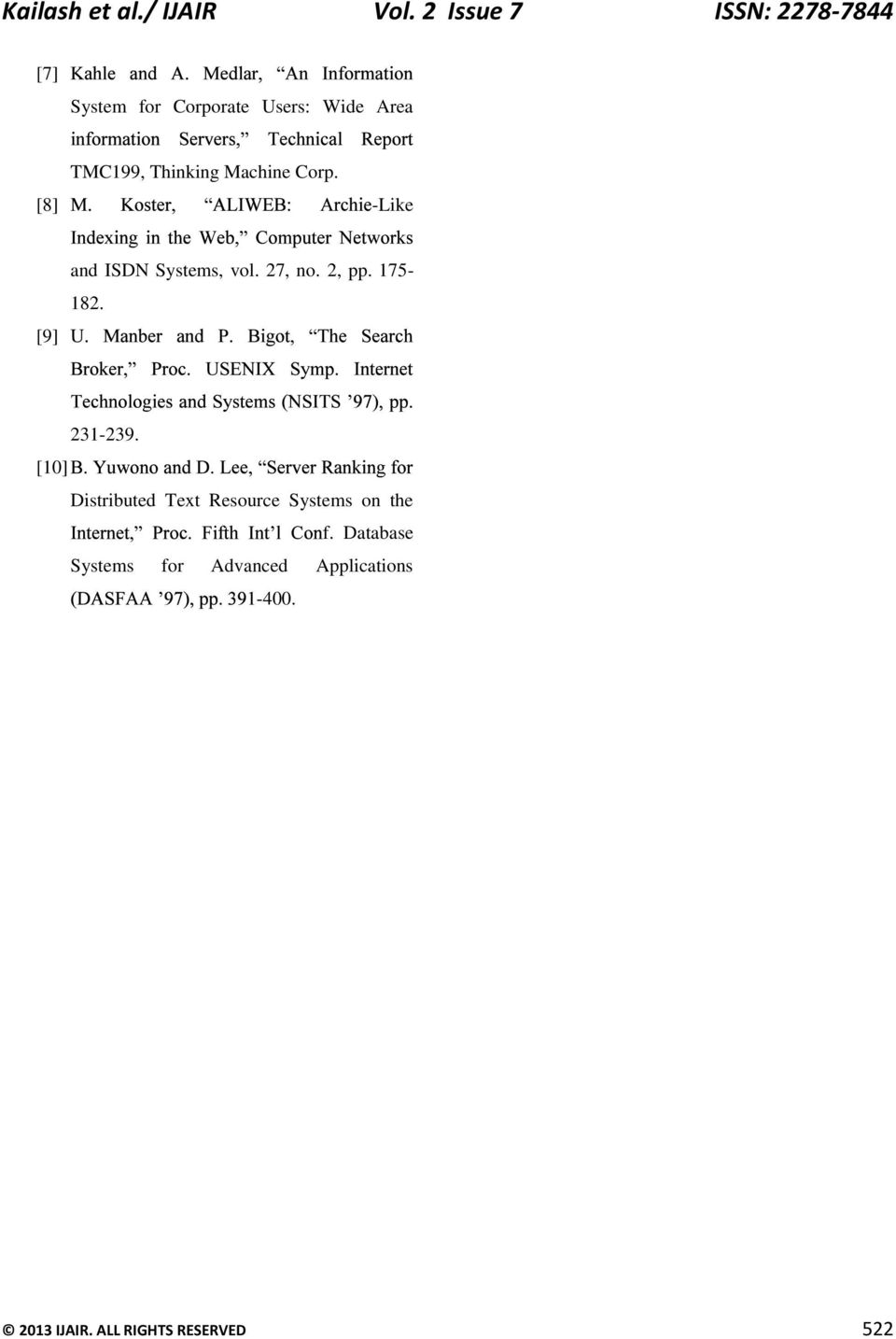 Thinking Machine Corp. [8] -Like [9] and ISDN Systems, vol. 27, no. 2, pp. 175-182.