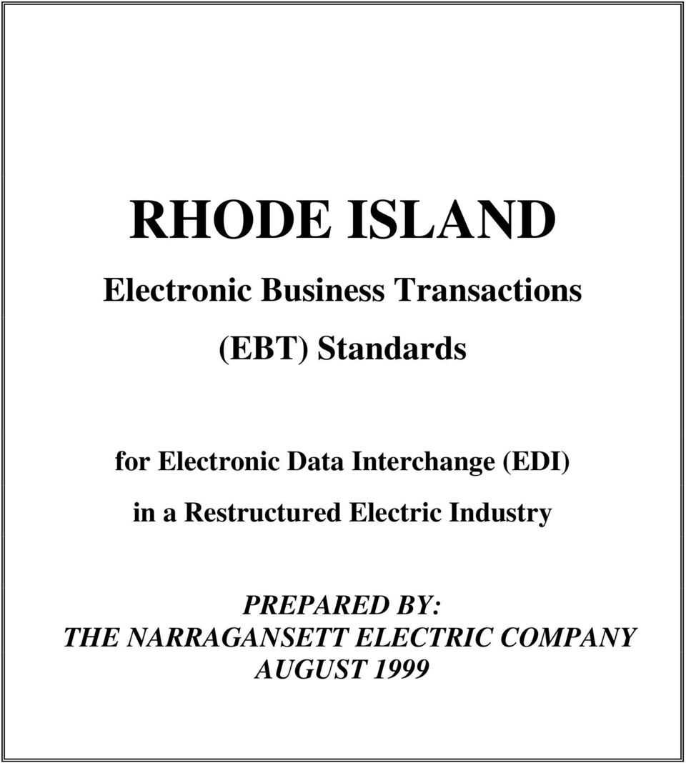 (EDI) in a Restructured Electric Industry