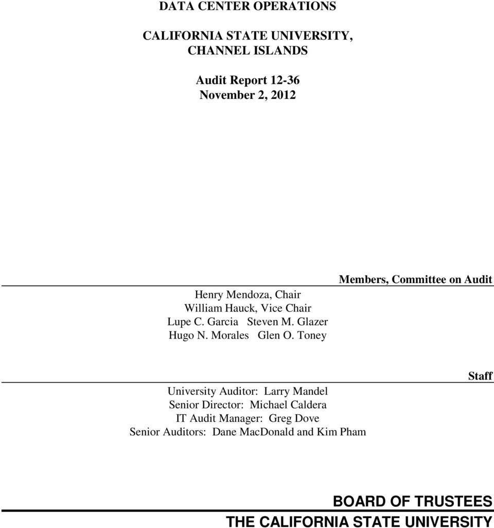 Toney Members, Committee on Audit University Auditor: Larry Mandel Senior Director: Michael Caldera IT Audit
