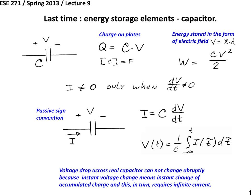 convention Vlt Voltage drop across real capacitor can not change abruptly