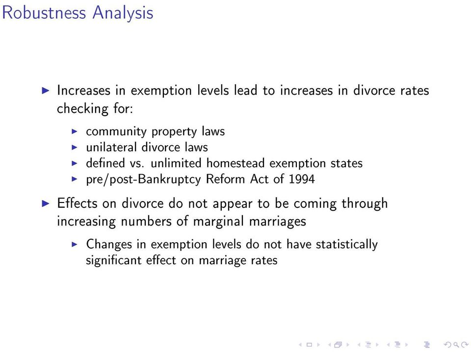 unlimited homestead exemption states pre/post-bankruptcy Reform Act of 1994 Eects on divorce do not