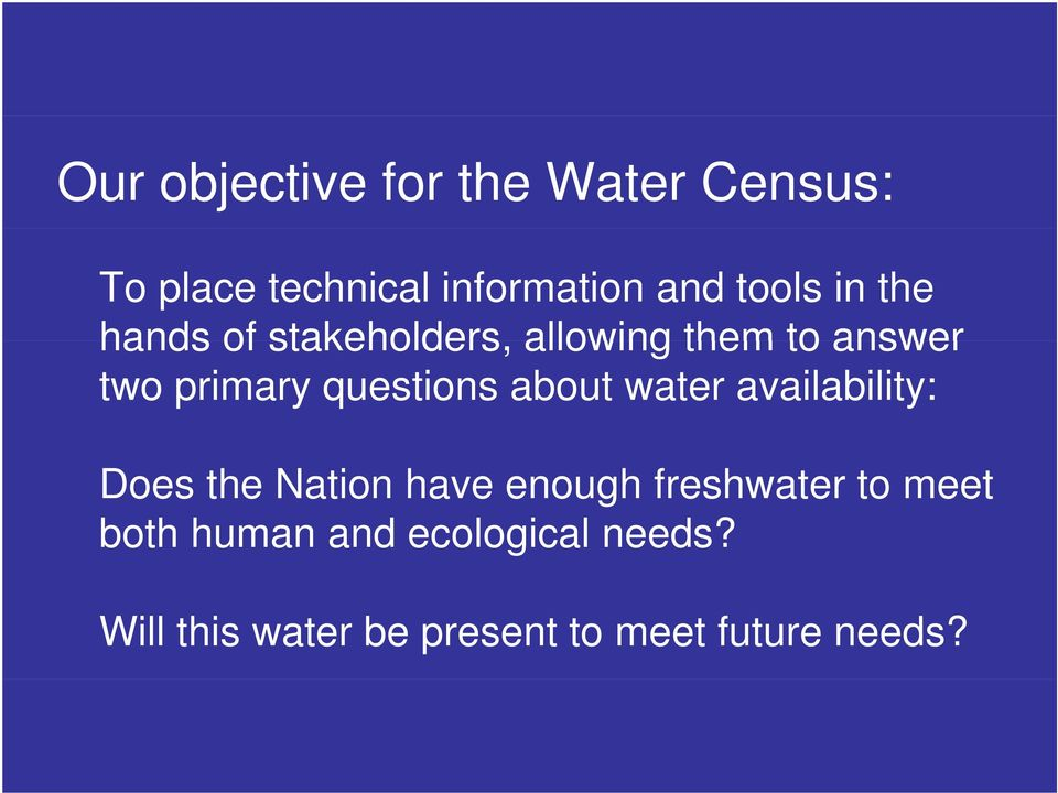 about water availability: Does the Nation have enough freshwater to meet