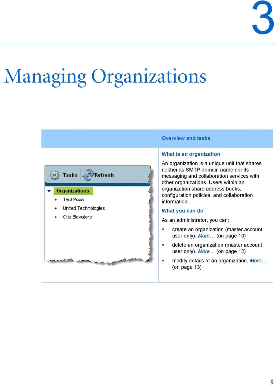 Users within an organization share address books, configuration policies, and collaboration information.