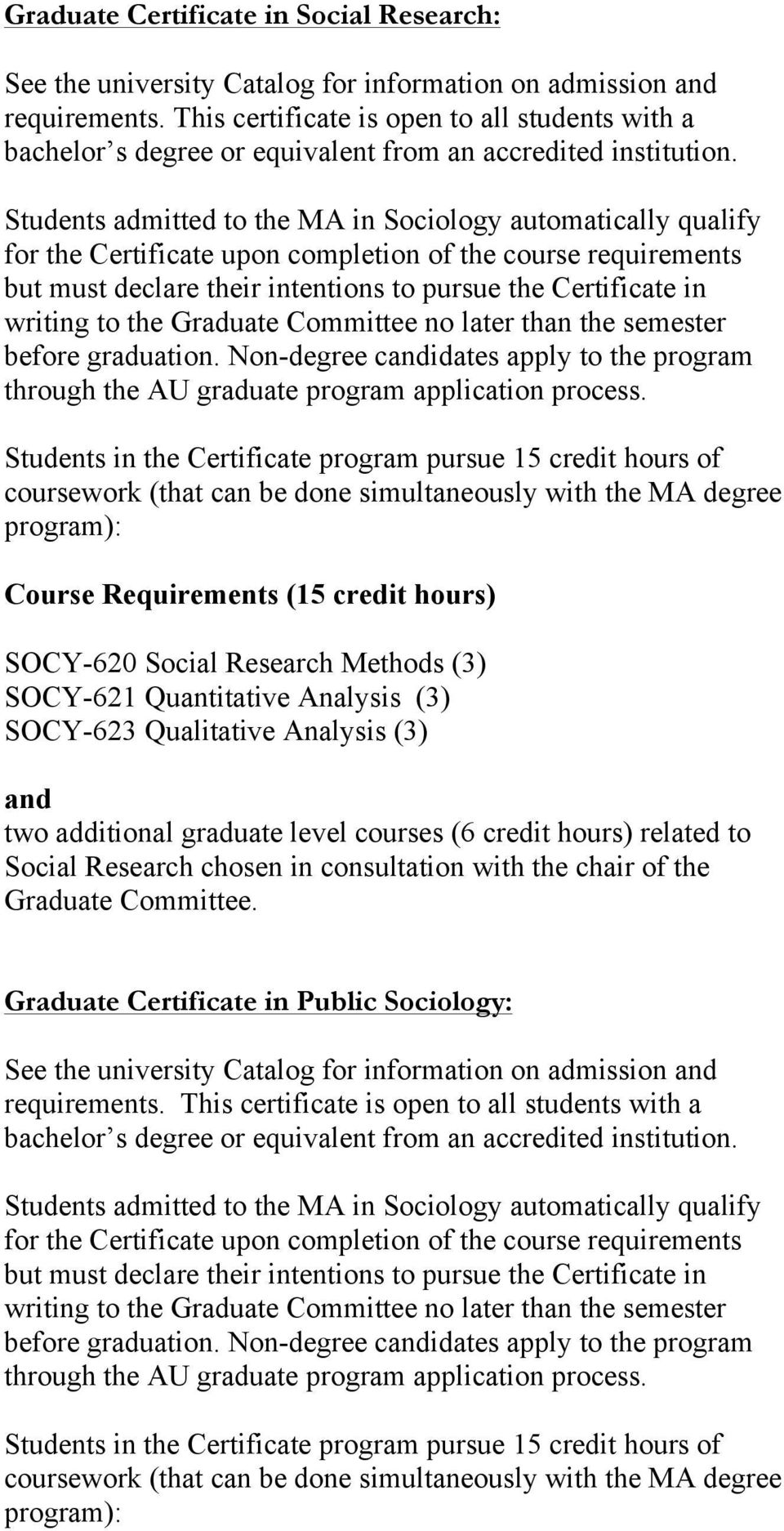 Students admitted to the MA in Sociology automatically qualify for the Certificate upon completion of the course requirements but must declare their intentions to pursue the Certificate in writing to