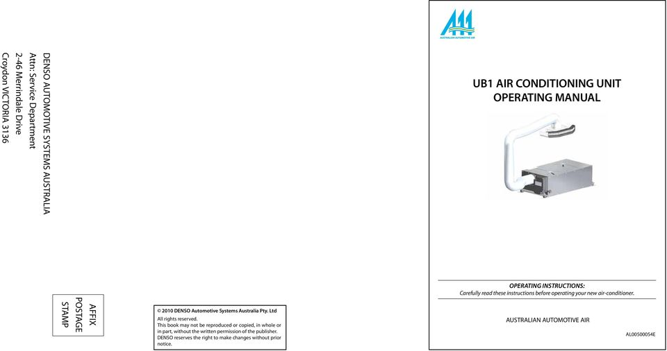 Ub1 air conditioning unit operating manual pdf stamp postage affix 2010 denso automotive systems australia pty ltd all rights reserved sciox Gallery
