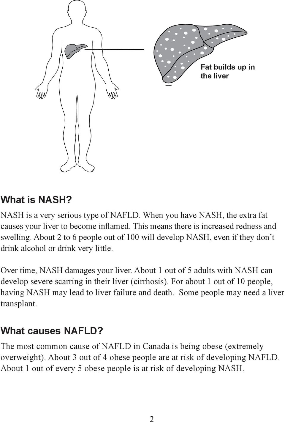 About 1 out of 5 adults with NASH can develop severe scarring in their liver (cirrhosis). For about 1 out of 10 people, having NASH may lead to liver failure and death.
