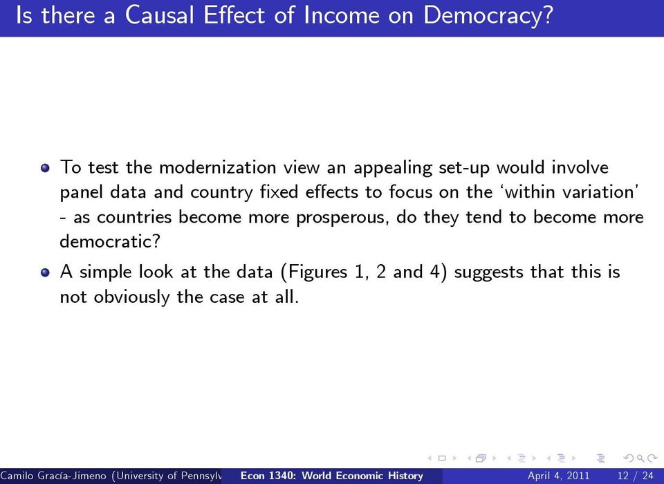within variation - as countries become more prosperous, do they tend to become more democratic?