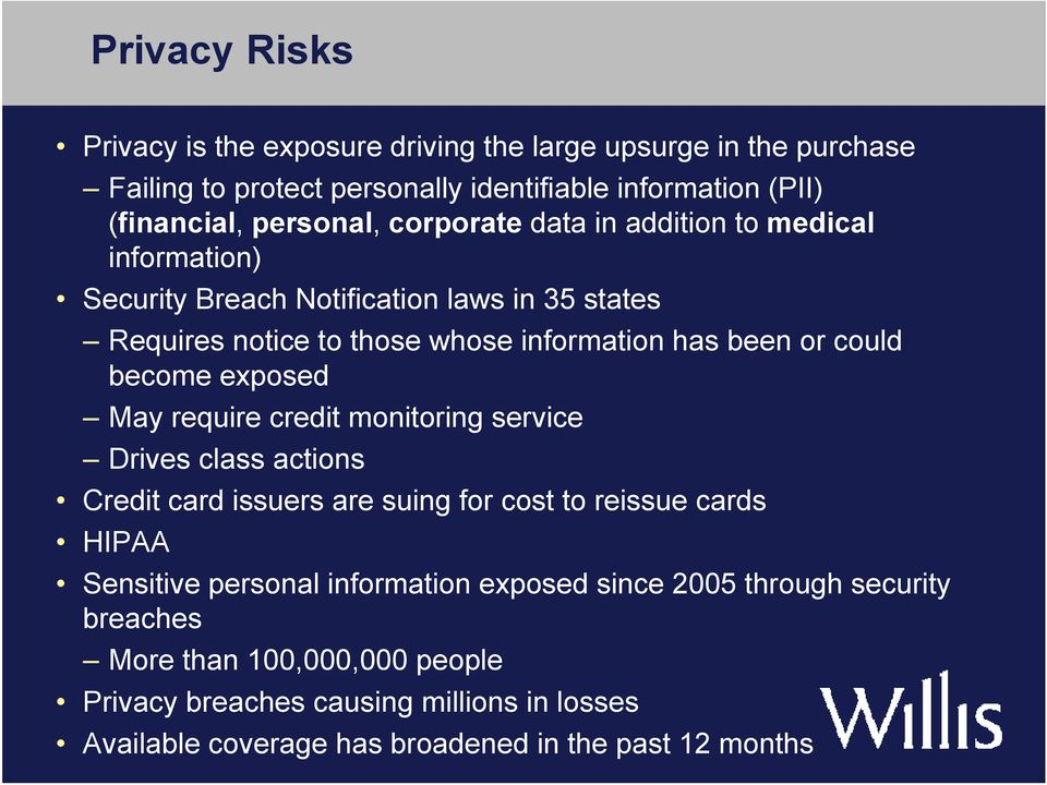 exposed May require credit monitoring service Drives class actions Credit card issuers are suing for cost to reissue cards HIPAA Sensitive personal information