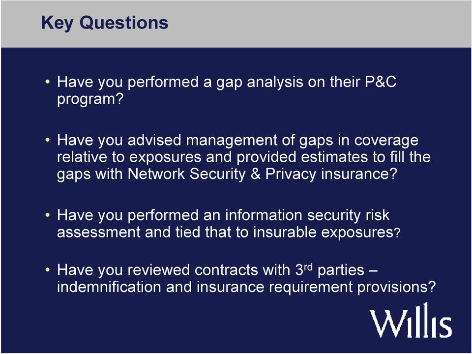 gaps with Network Security & Privacy insurance?