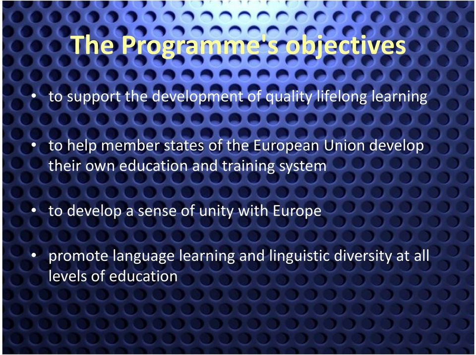 their own education and training system to develop a sense of unity with