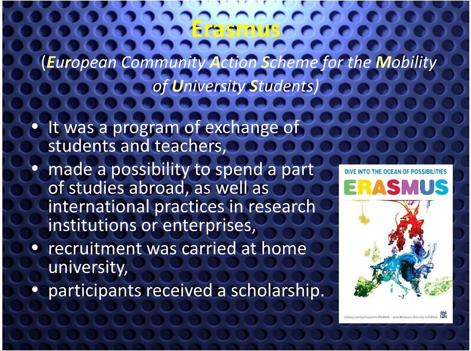 of studies abroad, as well as international practices in research institutions or
