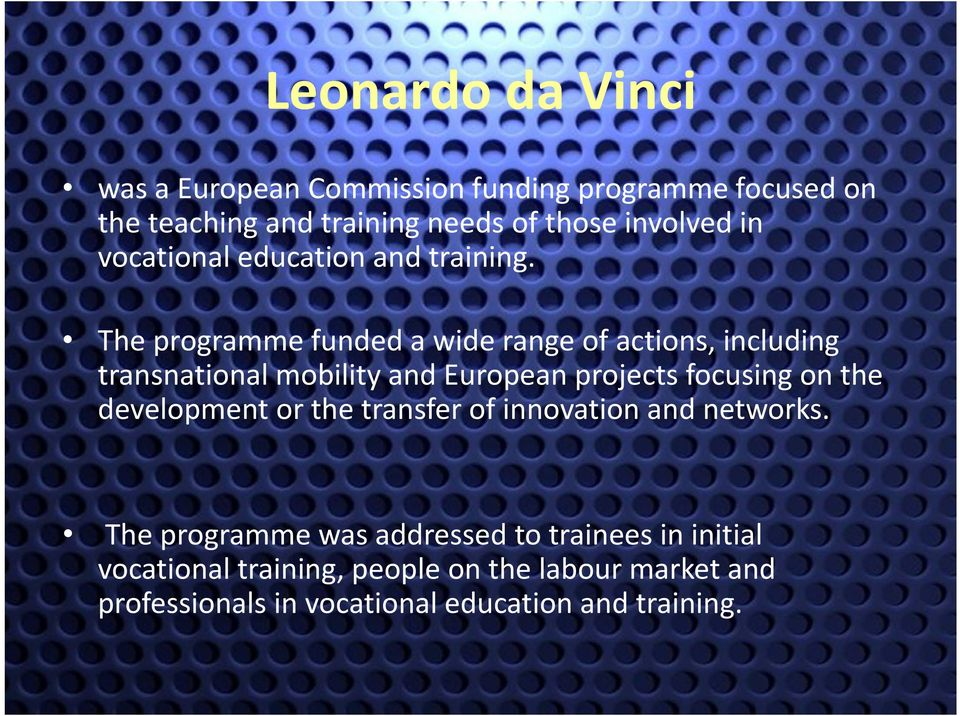 The programme funded a wide range of actions, including transnational mobility and European projects focusing on the