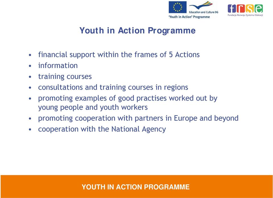 promoting examples of good practises worked out by young people and youth workers
