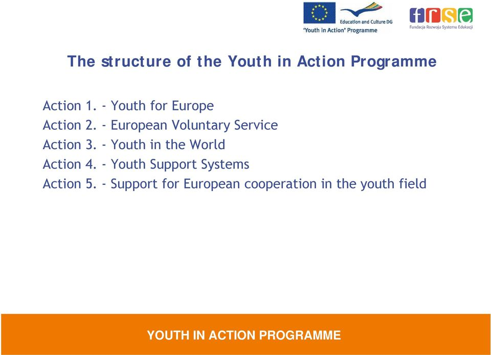 - European Voluntary Service Action 3.