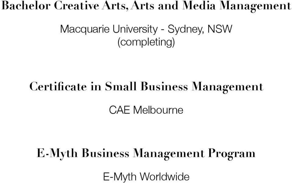 Certificate in Small Business Management CAE