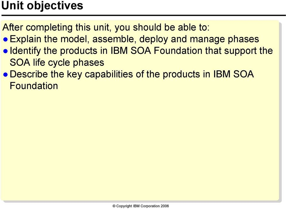 products in IBM SOA Foundation that support the SOA life cycle