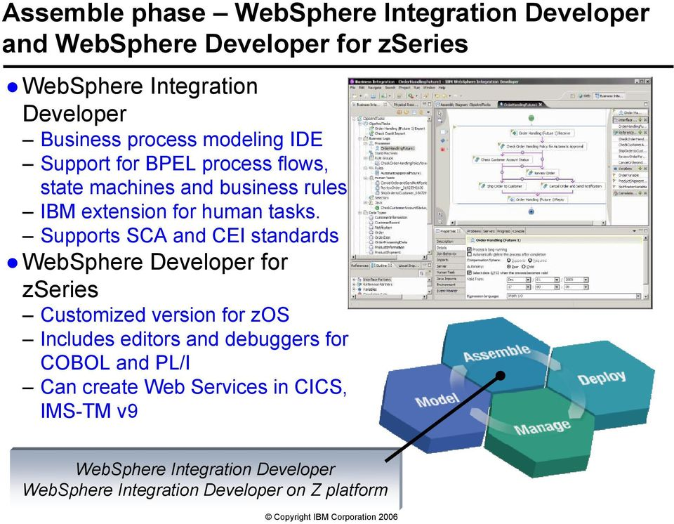 Supports SCA and CEI standards WebSphere Developer for zseries Customized version for zos Includes editors and debuggers for