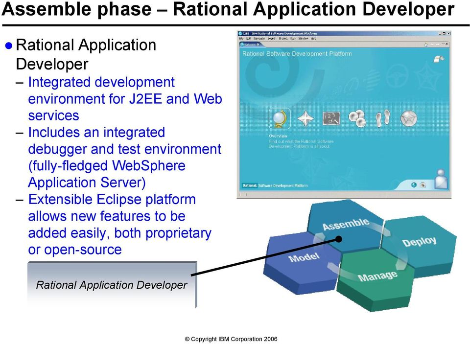 environment (fully-fledged WebSphere Application Server) Extensible Eclipse platform allows