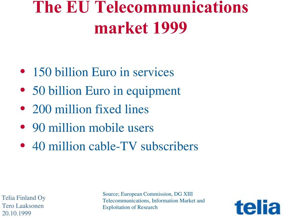 users 40 million cable-tv subscribers Source; European Commission,