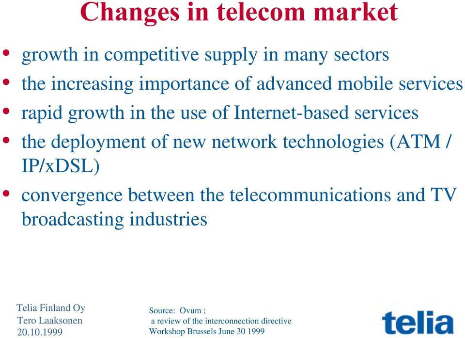 network technologies (ATM / IP/xDSL) convergence between the telecommunications and TV
