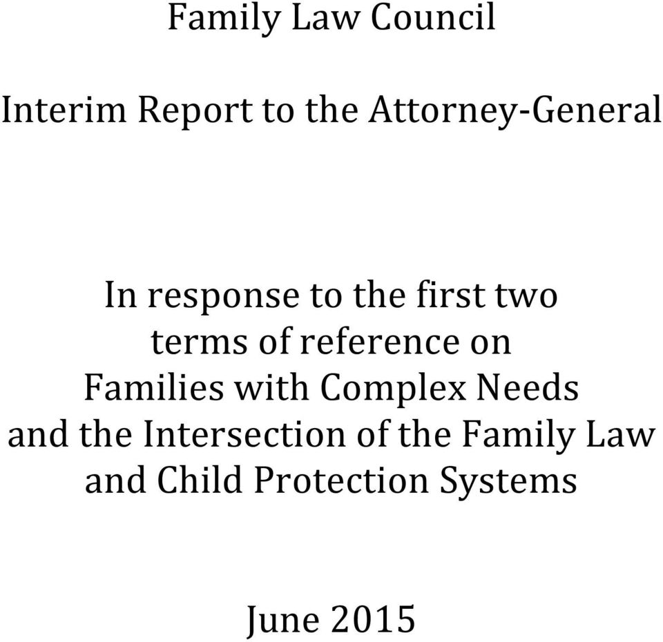 of reference on Families with Complex Needs and the