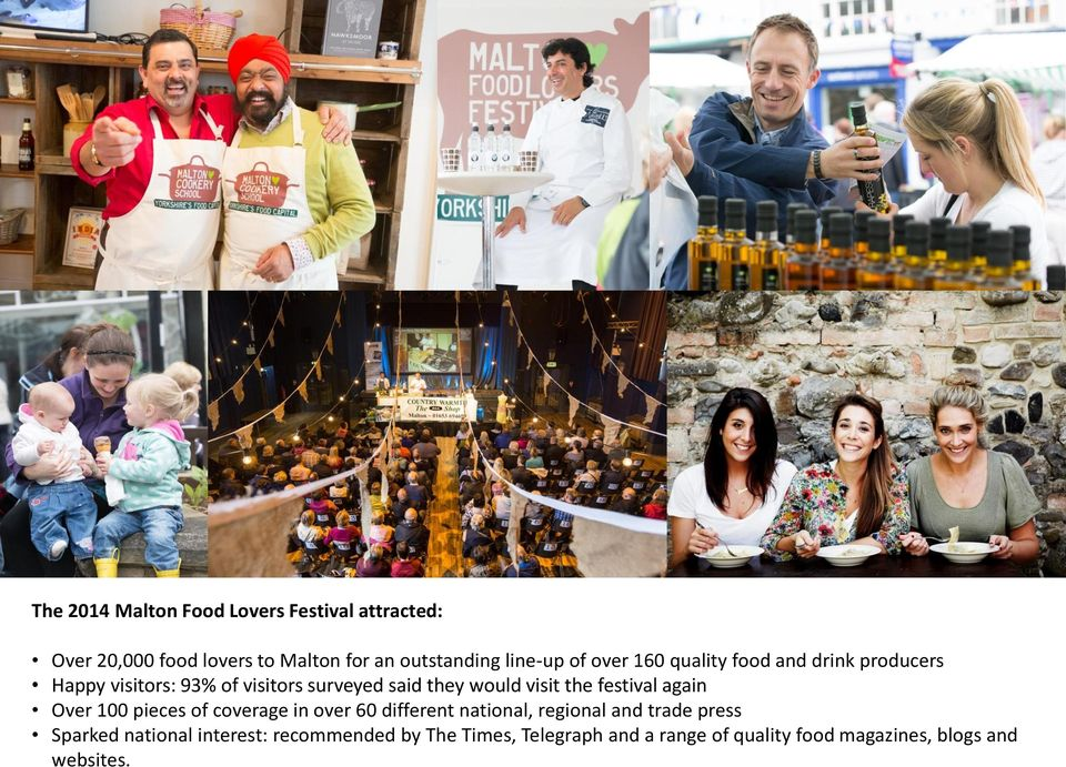 the festival again Over 100 pieces of coverage in over 60 different national, regional and trade press Sparked