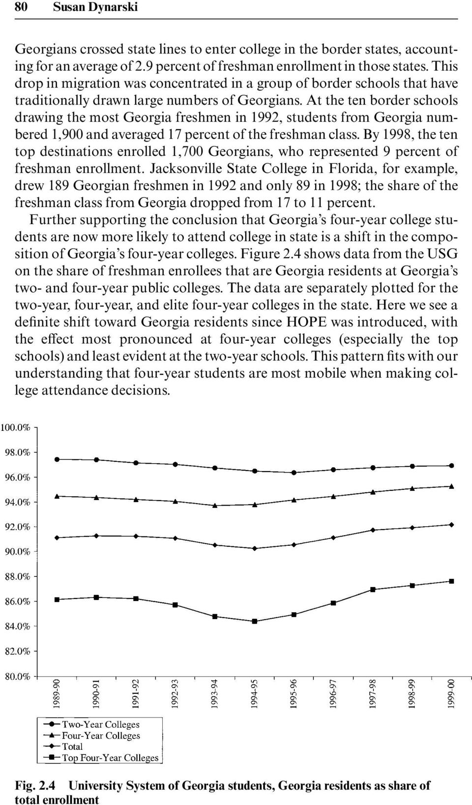 At the ten border schools drawing the most Georgia freshmen in 1992, students from Georgia numbered 1,900 and averaged 17 percent of the freshman class.