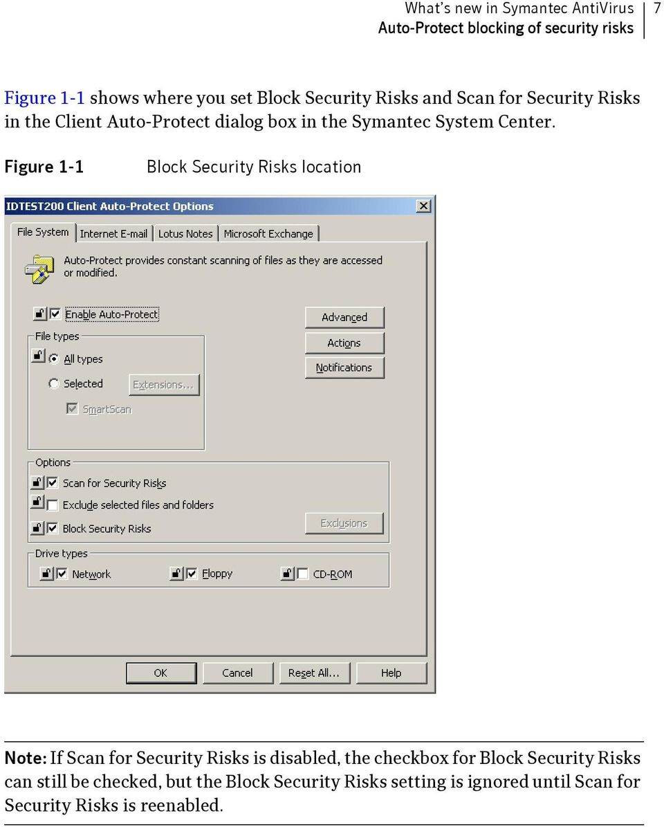 Figure 1-1 Block Security Risks location Note: If Scan for Security Risks is disabled, the checkbox for Block