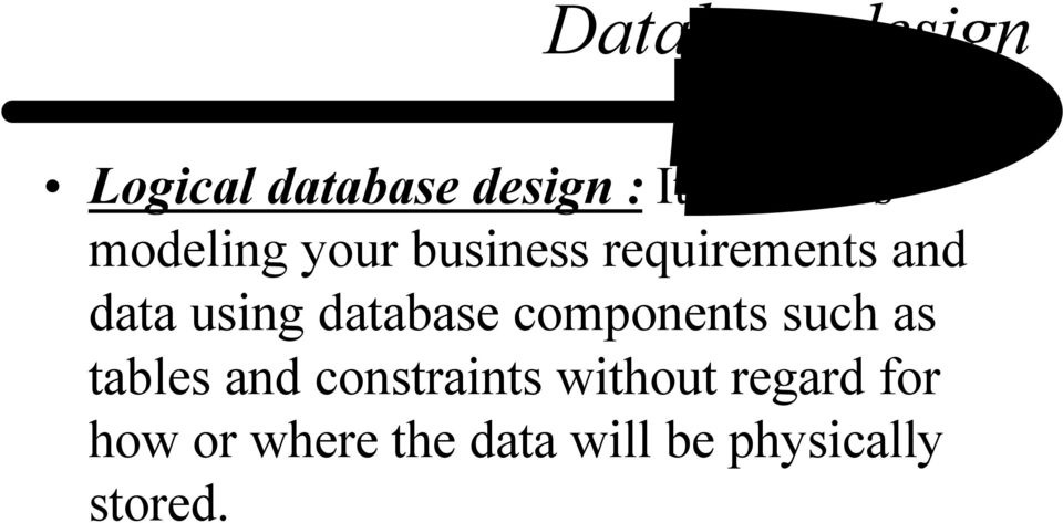 database components such as tables and constraints