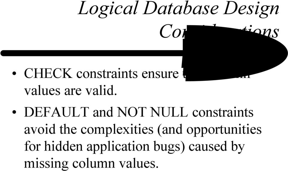 DEFAULT and NOT NULL constraints avoid the complexities