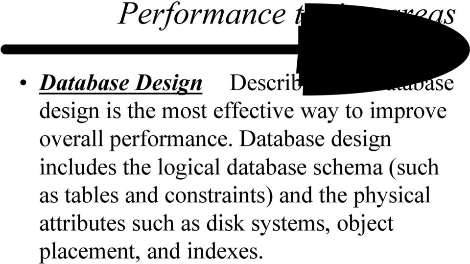 Database design includes the logical database schema (such as tables and