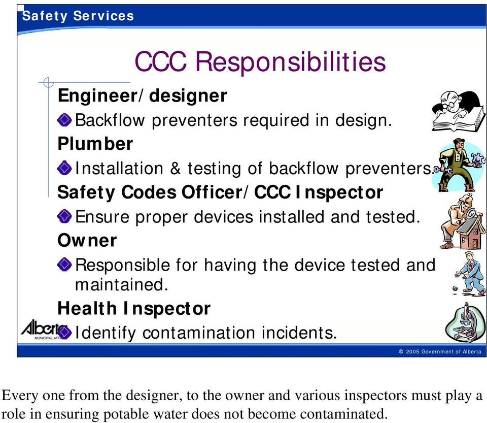 Safety Codes Officer/CCC Inspector Ensure proper devices installed and tested.