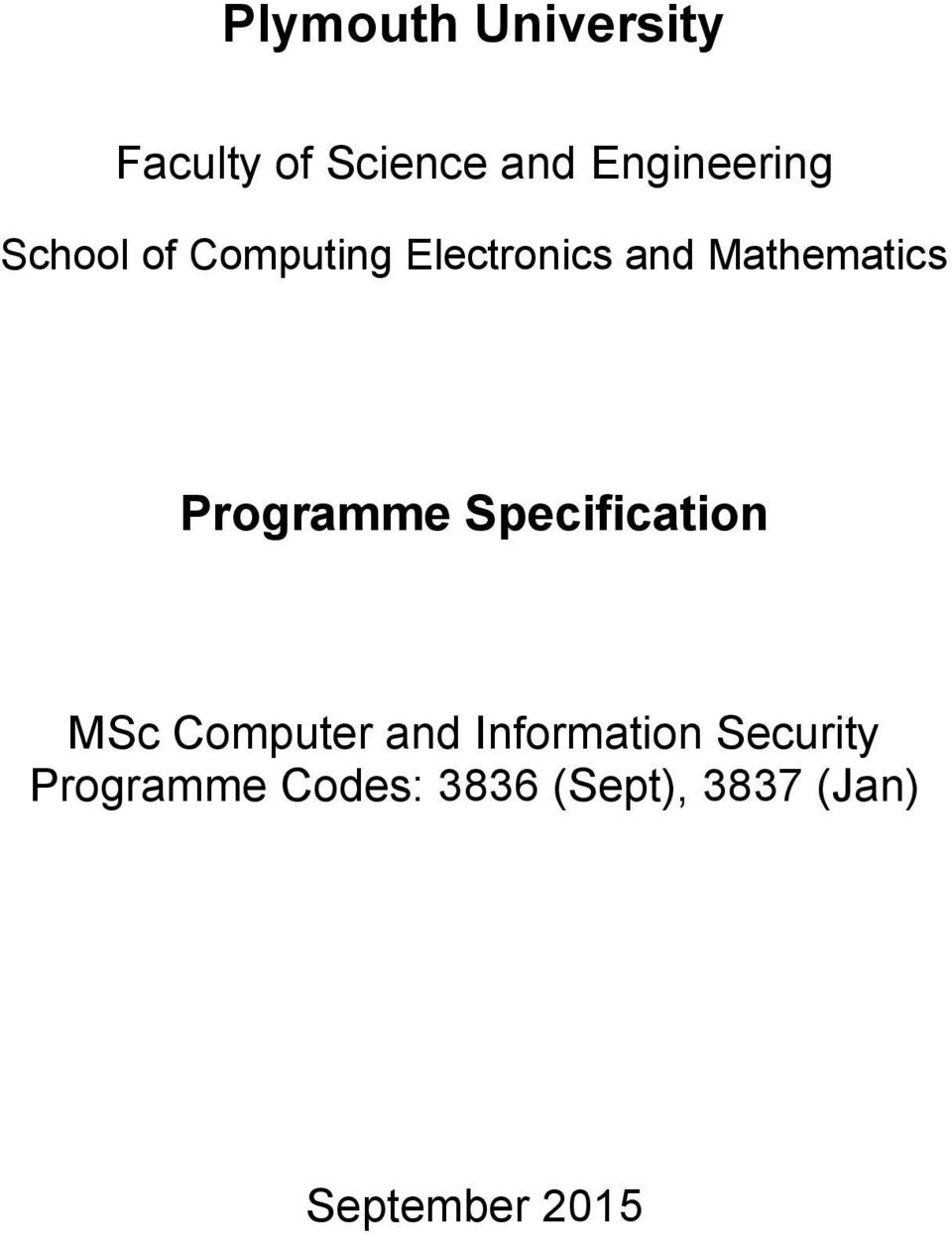 Programme Specification MSc Computer and Information