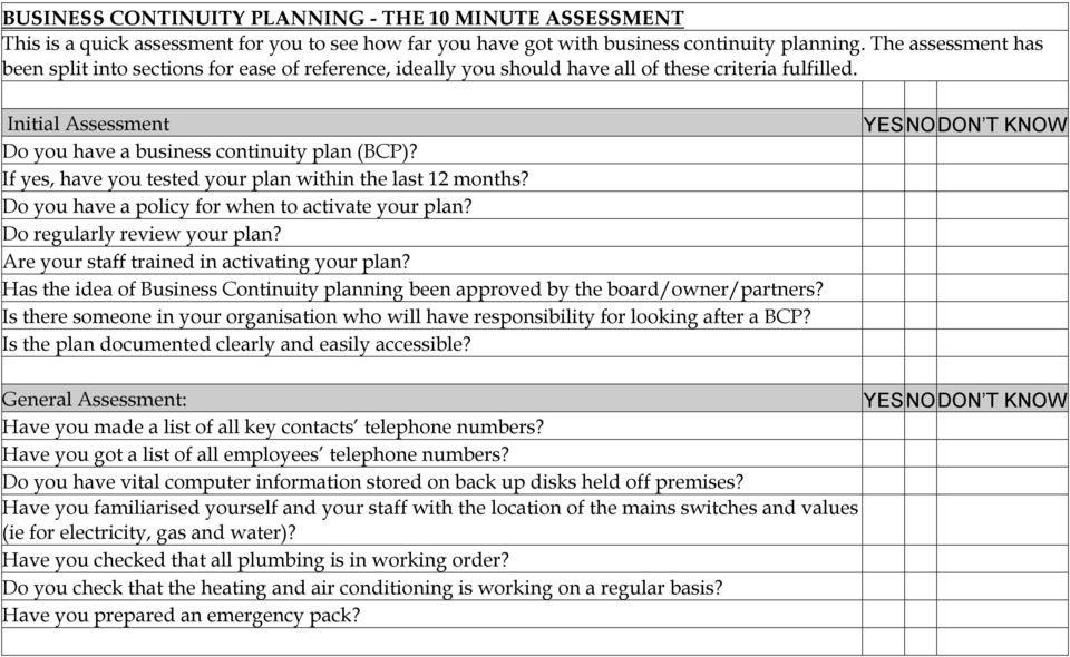 If yes, have you tested your plan within the last 12 months? Do you have a policy for when to activate your plan? Do regularly review your plan? Are your staff trained in activating your plan?